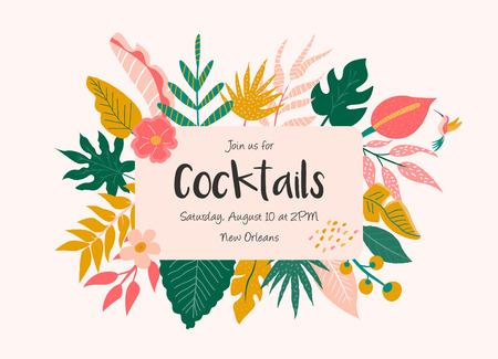 Trendy summer tropical leaves banner for invitations, greeting cards. Aloha, hawaiian, cocktail party Vektorové ilustrace