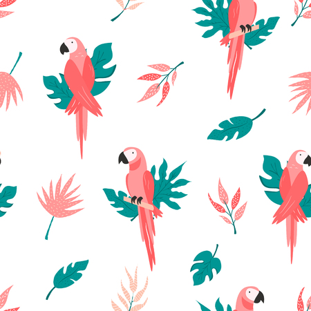 Tropical seamless pattern with macaws and leaves. Vector illustration. Summer design