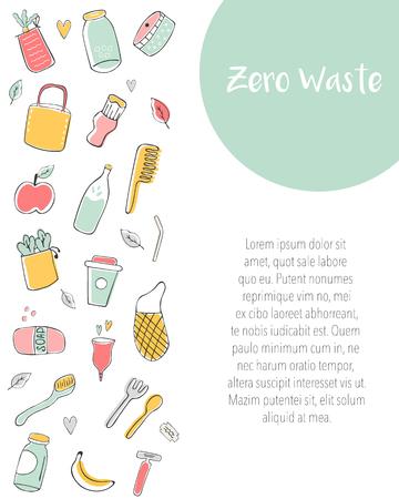 Plantilla de banner Zero Waste con elementos dibujados a mano y lugar para el texto. Bolsas de lona, botella de vidrio, frascos, vasos reutilizables, cubiertos de madera, peine de bambú