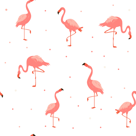 Seamless hawaiian pattern with pink flamingos. Suitable for fabric, textile prints, gift box wrapping
