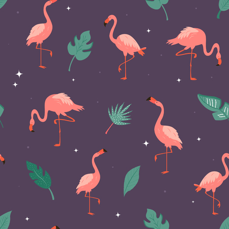 Seamless vector pattern with flamingos and tropical leaves. Suitable for fabric, textile prints, gift box wrapping Illustration