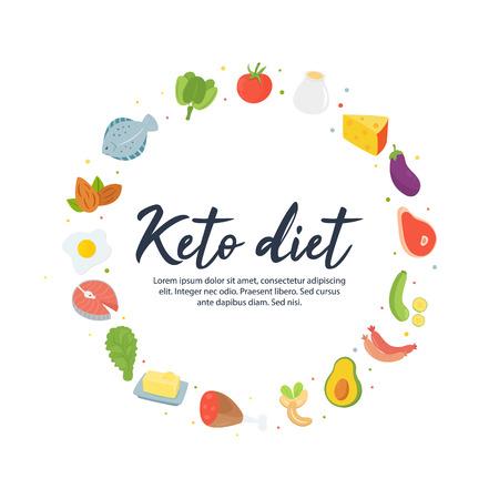 Concepto de Absctract comida de dieta cetogénica Ilustración de vector