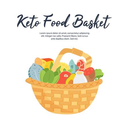 Basket of Ketogenic diet food, high healthy fats. Stock fotó - 125796598