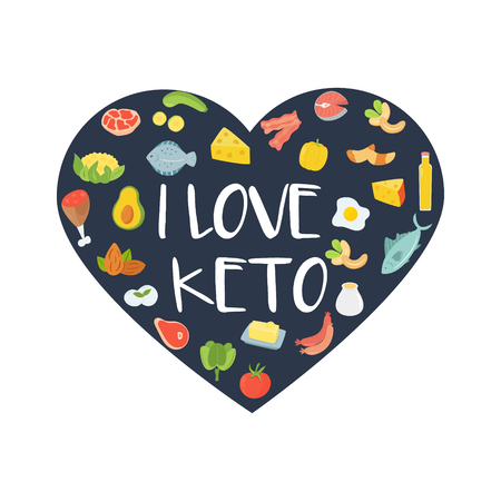 I love keto abstract concept illustration with set of icons. Ketogenic diet Иллюстрация