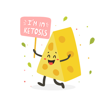 Funny cute cheese character with lettering, keto diet lover  イラスト・ベクター素材