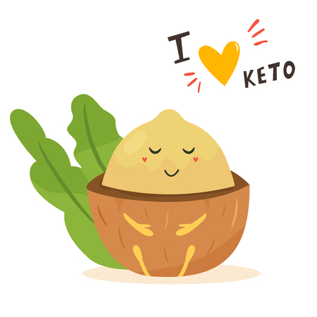 Funny cute macadamia character with lettering, keto diet lover. Ketosis concept