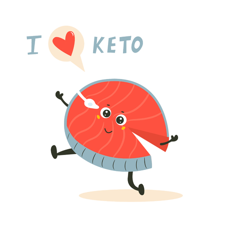 Funny cute fish character, keto diet lover. Ketosis concept Illustration