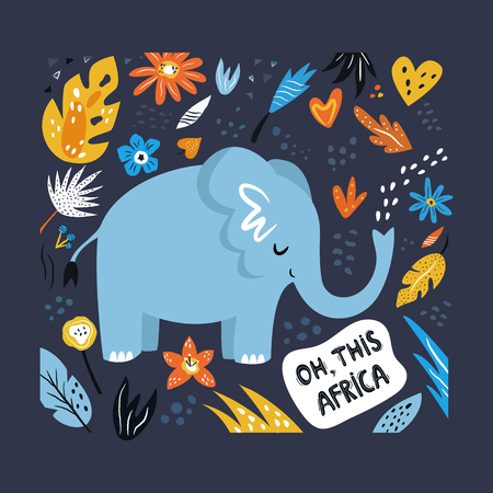 Cute hand drawn elephant character with decorative floral elements. Travel greeting card, print for t-shirts Иллюстрация
