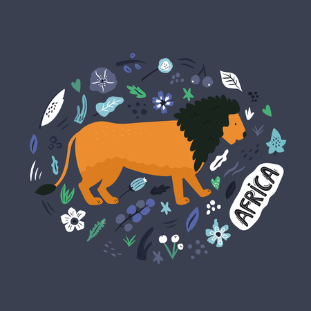 Cute hand drawn lioncharacter with decorative floral elements. Travel greeting card, print for t-shirts
