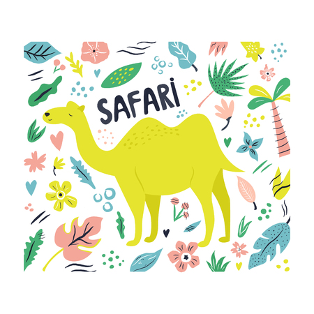 Cute hand drawn camel character with decorative floral elements. Travel greeting card, print for t-shirts