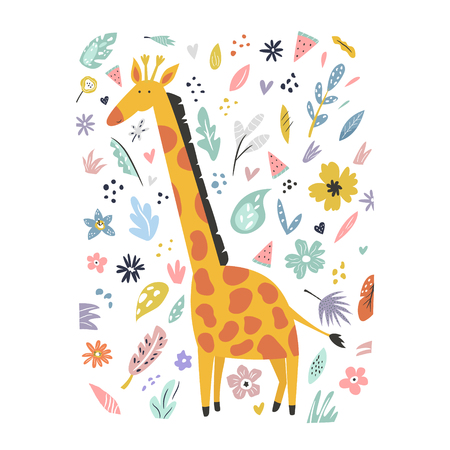 Cute hand drawn giraffecharacter with decorative floral elements. Travel greeting card, print for t-shirts Illustration