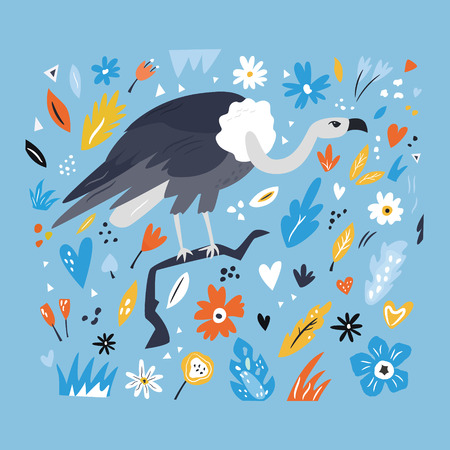 Cute hand drawn vulture character with decorative floral elements. Travel greeting card, print for t-shirts Illustration