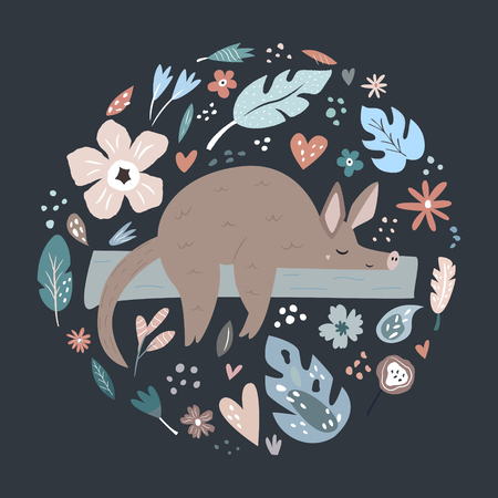 Cute hand drawn aardvark character with decorative floral elements. Travel greeting card, print for t-shirts