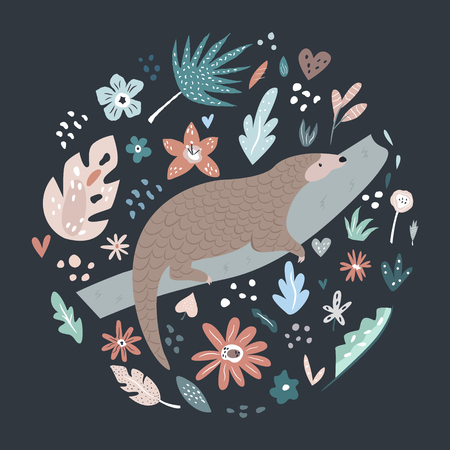 Cute hand drawn pangolin character with decorative floral elements. Travel greeting card, print for t-shirts