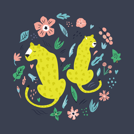 Cute hand drawn couple of leopards with decoration. Travel greeting card, print for t-shirts 일러스트