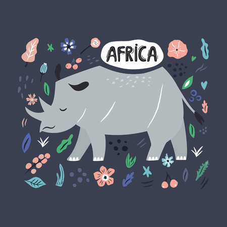 Cute hand drawn rhino character with decorative floral elements. Travel greeting card, print for t-shirts
