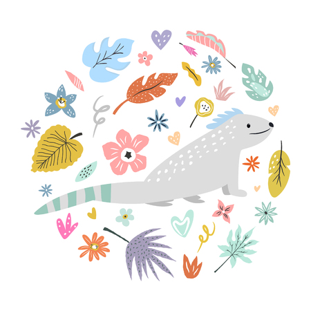 Cute hand drawn iguana character with decorative floral elements. Travel greeting card, print for t-shirts