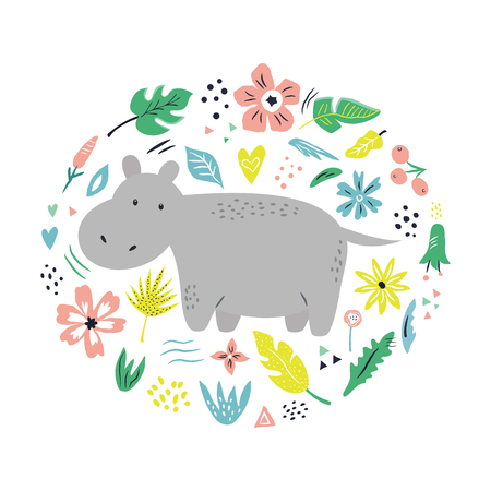 Cute hand drawn hippo character with decorative floral elements. Travel greeting card, print for t-shirts