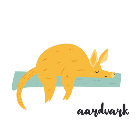Cute orange aardvark on white background. Animal character. African inhabitant Illustration