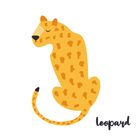 Cute orange leopard on white background. Animal character. African inhabitant