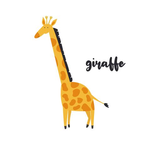 Cute orange giraffe on white background. Animal character. African inhabitant Illustration