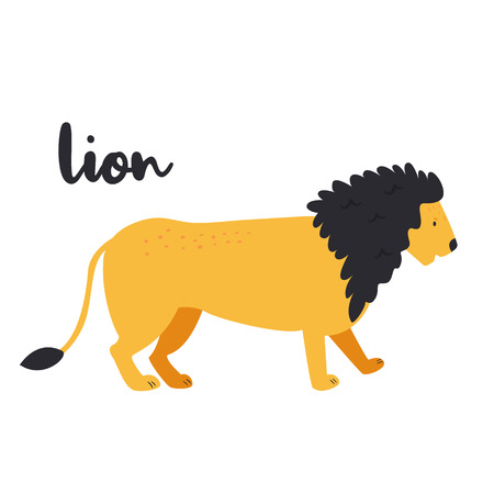 Adorable king lion on white background. Animal character. African inhabitant
