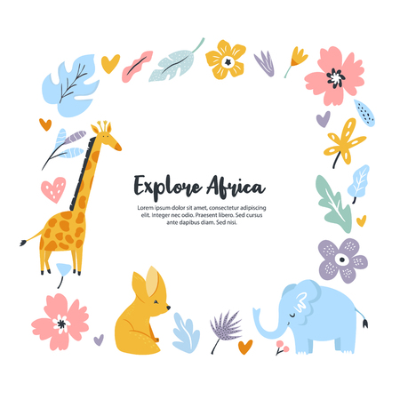 Hand drawn square frame with african animals and flowers