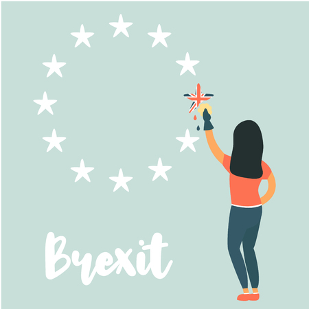 Girl washing out Great Britain from EU emblem. Vector political illustration. Brexit concept