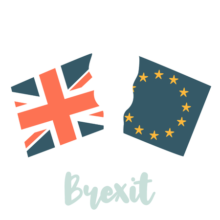 United Kingdom and EU broken on two halves 일러스트