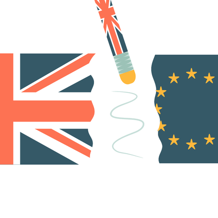 United Kingdom and EU flags broken on two halves. Brexit politic and economic concept