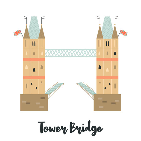 Tower Bridge London famous landmark isolated on white background. Vector illustration