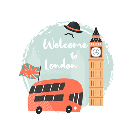 London background, design with red double decker, Big Ben on London map. Abstract vector illustration