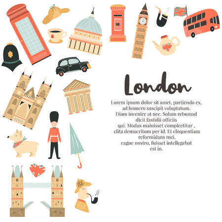 London background, design with Big Ben, Tower, Tower bridge, red phone box, Westminster Abbey. Abstract vector illustration