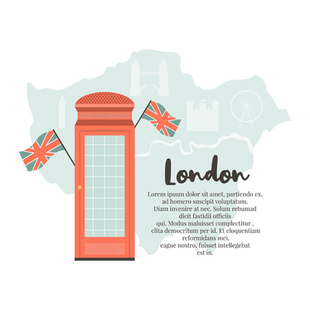 London background, design with red phone box on London map. Abstract vector illustration Illustration