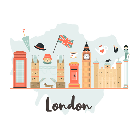 London background, design with Big Ben, Tower, Tower bridge on London map. Abstract vector illustration Illustration