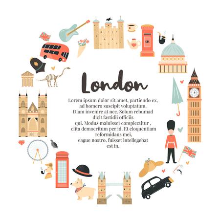 Arrière-plan abstrait du cercle de Londres, conception avec Big Ben, tour, abbaye de Westminster, etc. et place pour le texte