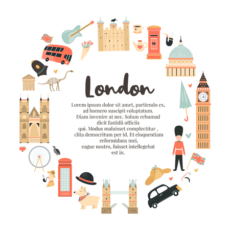 London circle abstract background, design with Big Ben, Tower, Westminster Abbey etc. and place for text