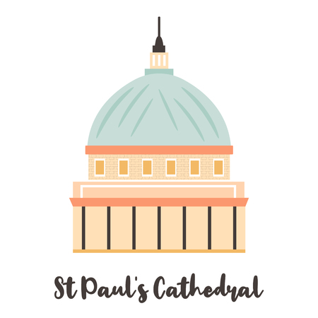 St Pauls Cathedal London famous landmark isolated on white background. Vector illustration