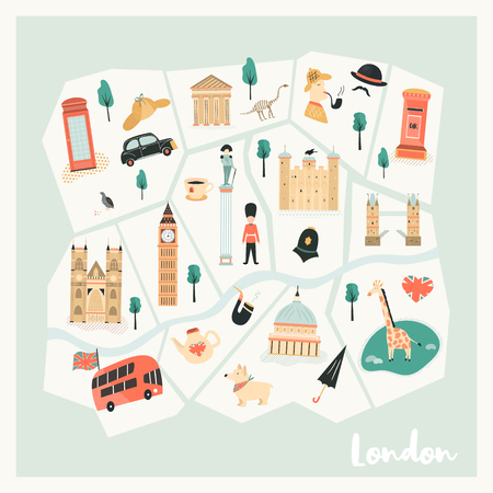 Illustrated map of London with landmarks, characters and symbols. Vector design