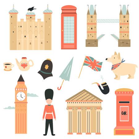 Grande set di simboli, icone, personaggi e attrazioni di Londra