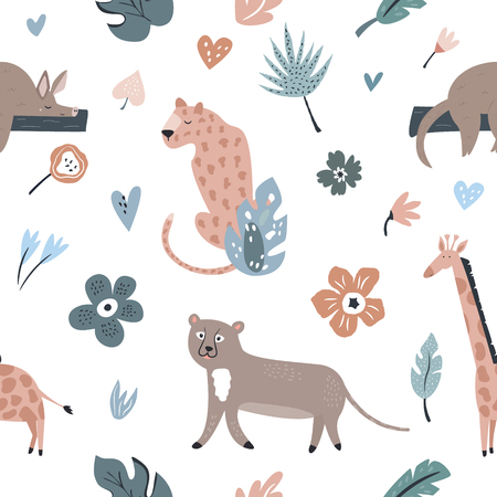 Seamless pattern with african animals and floral prints. Giraffe, cheetah, leopard, aardvark