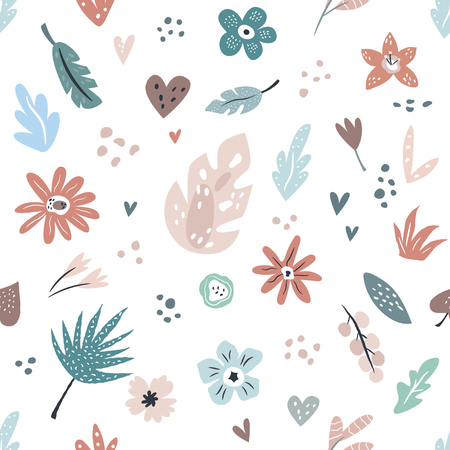 Hand drawn seamless pattern with flowers, leaves for wrapping paper, textile, gift box, fabric Illustration