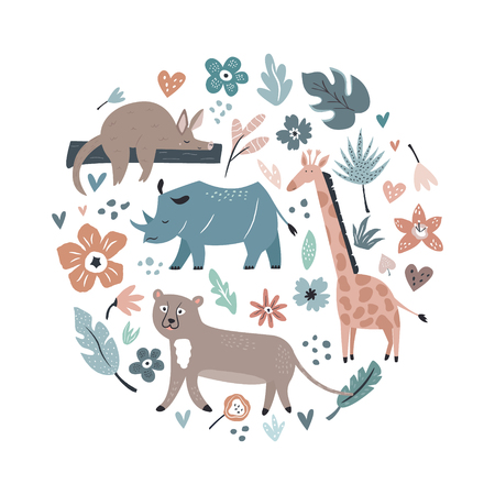 Abstract collage, design with animals and decorative elements, flowers. Travel greeting card, print for t-shirts Illustration