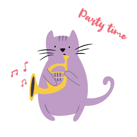 Funny cat playing the horn. Vector illustration. Character design. Pet collection