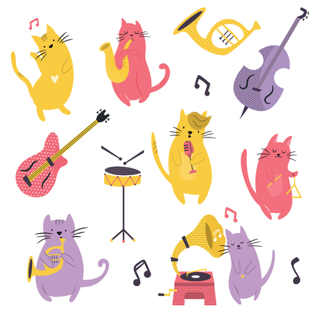 Big set of funny cats playing musical instruments. Different kinds of instruments Illustration