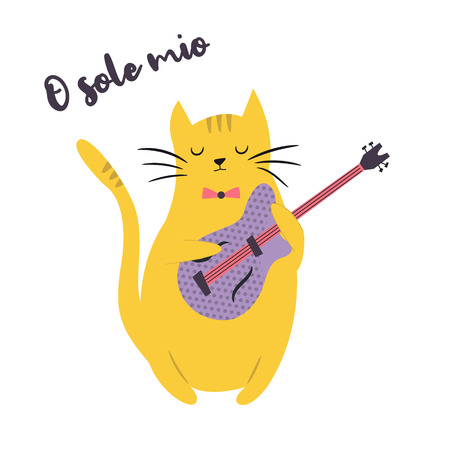 Funny cat playing guitar. Vector illustration. Character design. Pet collection
