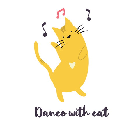 Funny yellow cat dancing to the music. Vector illustration. Character design. Pet collection