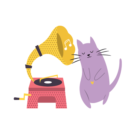 Funny cat playing listening to phonograph. Vector illustration. Character design. Pet collection Illustration