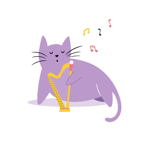 Funny cat playing the harp. Vector illustration. Character design. Pet collection Illustration