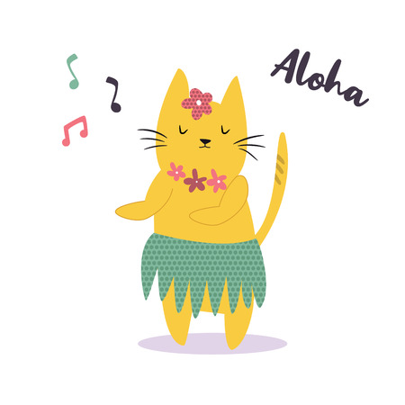 Funny yellow Hawaiian cat dancing to the music. Vector illustration. Character design. Pet collection